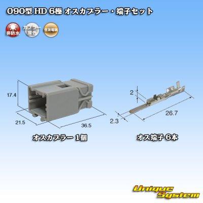 画像1: 住友電装 090型 HD 6極 オスカプラー・端子セット
