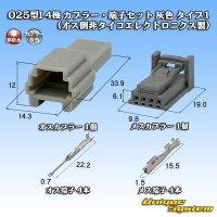 (オスカプラー非タイコエレクトロニクス AMP製) 025型I 非防水 4極 カプラー・端子セット 灰色 タイプ1