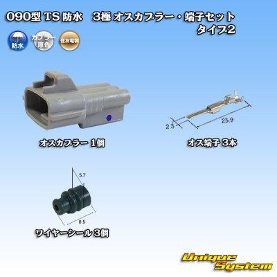 画像1: 住友電装 090型 TS 防水 3極 オスカプラー・端子セット タイプ2