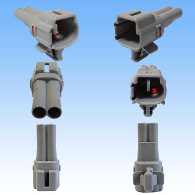 画像2: 住友電装 090型 TS 防水 2極 オスカプラー・端子セット タイプ4 灰色