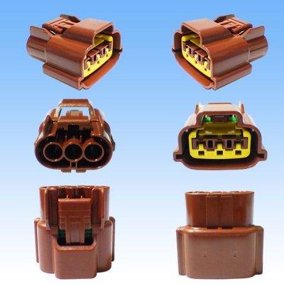 画像3: 住友電装 090型 62シリーズタイプE 防水 3極 メスカプラー・端子セット リテーナー付属(P6) 茶色 (オス側無し)