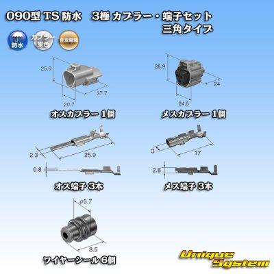 画像5: 住友電装 090型 TS 防水 3極 カプラー・端子セット 三角タイプ タイプ1