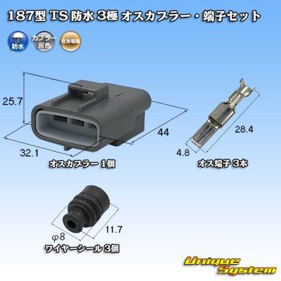 画像1: 住友電装 187型 TS 防水 3極 オスカプラー・端子セット