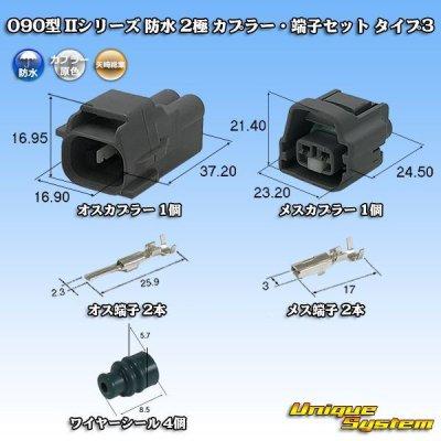 画像1: 矢崎総業 090型 IIシリーズ 防水 2極 カプラー・端子セット タイプ3