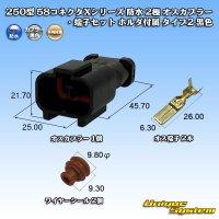 矢崎総業 250型 58コネクタXシリーズ 防水 2極 オスカプラー・端子セット ホルダ付属 タイプ2 黒色