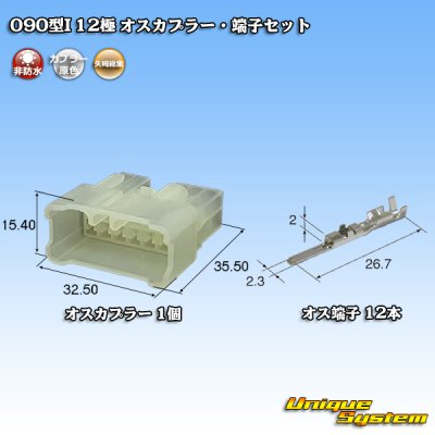 画像1: 矢崎総業 090型I 12極 オスカプラー・端子セット