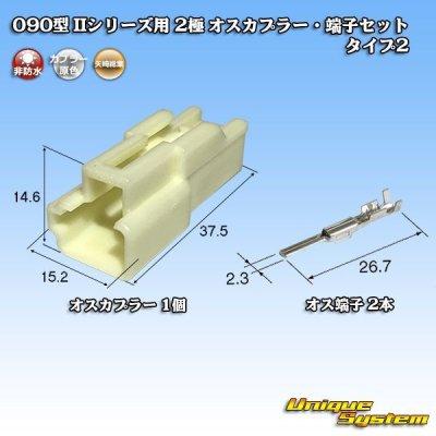 画像1: 矢崎総業 090型II 2極 オスカプラー・端子セット タイプ2