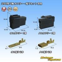 矢崎総業 250型 2極 カプラー・端子セット 黒色