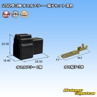 矢崎総業 250型 3極 オスカプラー・端子セット 黒色