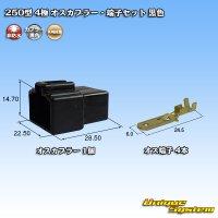 矢崎総業 250型 4極 オスカプラー・端子セット 黒色